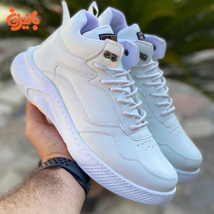 کفش چرم سفید بیبت ساقدار